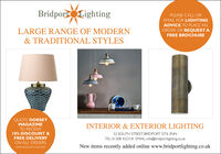 BridportLightingPLEASE CALL OREMAIL FOR LIGHTINGADVICE, TO PLACE ANORDER OR REQUEST ALARGE RANGE OF MODERNFREE BROCHURE& TRADITIONAL STYLESQUOTE DORSETMAGAZINETO RECEIVEINTERIOR & EXTERIOR LIGHTING10% DISCOUNT &FREE DELIVERY52 SOUTH STREET, BRIDPORT DT6 3NNTEL: 01308 422318 EMAIL: info@bridportlighting.co.ukON ALL ORDERS.New items recently added online www.bridportlighting.co.ukOFFER ENDS 30TH JUNE 2020 BridportLighting PLEASE CALL OR EMAIL FOR LIGHTING ADVICE, TO PLACE AN ORDER OR REQUEST A LARGE RANGE OF MODERN FREE BROCHURE & TRADITIONAL STYLES QUOTE DORSET MAGAZINE TO RECEIVE INTERIOR & EXTERIOR LIGHTING 10% DISCOUNT & FREE DELIVERY 52 SOUTH STREET, BRIDPORT DT6 3NN TEL: 01308 422318 EMAIL: info@bridportlighting.co.uk ON ALL ORDERS. New items recently added online www.bridportlighting.co.uk OFFER ENDS 30TH JUNE 2020