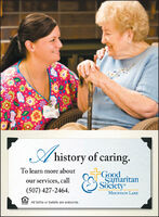 A history of caring.To learn more aboutGoodSamaritanSocietyour services, call(507) 427-2464.MOUNTAIN LAKEE All faiths or beliefs are welcome.86 A history of caring. To learn more about Good Samaritan Society our services, call (507) 427-2464. MOUNTAIN LAKE E All faiths or beliefs are welcome. 86