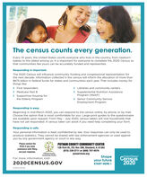 The census counts every generation.Every 10 years, the United States counts everyone who lives in the country, from newbornbabies to the oldest among us. It is important for everyone to complete the 2020 Census sothat communities like yours can be accurately funded and represented.Responding is important.The 2020 Census will influence community funding and congressional representation forthe next decade. Information collected in the census will inform the allocation of more than$675 billion in federal funds for states and communities each year. That includes money forthings like:> First responders> Medicare Part B> Supportive Housing forthe Elderly Program> Libraries and community centers> Supplemental Nutrition AssistanceProgram (SNAP)> Senior Community ServiceEmployment ProgramResponding is easy.Beginning in mid-March 2020, you can respond to the census online, by phone, or by mail.Choose the option that is most comfortable for you. Large-print guides to the questionnaireare available upon request. From May - July 2020, census takers will visit households thathave not yet responded. A census taker can assist if you need help completing your form.Responding is safe.Your personal information is kept confidential by law. Your responses can only be used toproduce statistics. They cannot be shared with law enforcement agencies or used againstyou by any government agency or court in any way.Please contact thePUTNAM COUNTY COMMUNITY CENTERPCCC if you needassistance with fillingout your response.128 First St., P.0. Box 208, Standard, IL 61363(815) 339-2711 or (800) 757-4579pcaservices.orgPutnam CountyCommunity CenterShapeyour futureSTART HERE >United StatesCensus2020For more information, visit:2020CENSUS.GOVD-OP-EL-EN-125 The census counts every generation. Every 10 years, the United States counts everyone who lives in the country, from newborn babies to the oldest among us. It is important for everyone to complete the 2020 Census so that communities like yours can be acc
