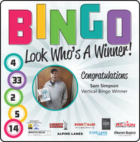 BINGOLook Who's A Winner!CongratulationsEESam SimpsonVertical Bingo WinnerO0000Isiminger's24 HR Towing ServiceSpliehSplashLIBERTYLUMBERangelos ACTION14BUDD BAERCARrestiurantEQUIPMENT CENTERSOUTH HILLSLINCOLNSTAR LAKEFORD, LLCObserver-ReporterALPINE LANESEVENT MARKETING BINGO Look Who's A Winner! Congratulations EE Sam Simpson Vertical Bingo Winner O0000 Isiminger's 24 HR Towing Service Splieh Splash LIBERTY LUMBER angelos ACTION 14 BUDD BAER CAR restiurant EQUIPMENT CENTER SOUTH HILLS LINCOLN STAR LAKE FORD, LLC Observer-Reporter ALPINE LANES EVENT MARKETING