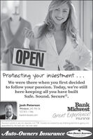 OPENProtecting your investment...We were there when you first decidedto follow your passion. Today, we're stillhere keeping all you have builtSafe. Sound. Secure®.BankMidwestGreat Experience!Josh PetersonWindom 245 9th St.507.831.1346bankmidwest.cominsuranceInsurance products are not deposits, rot FDIC insured, not insured by any federal govermment agency natguaranteed by the bank anc may lose value.Auto-Owners Insurance Auto.Oumers InsuranceLie Home Car BusinessThe Vn OPEN Protecting your investment... We were there when you first decided to follow your passion. Today, we're still here keeping all you have built Safe. Sound. Secure®. Bank Midwest Great Experience! Josh Peterson Windom 245 9th St. 507.831.1346 bankmidwest.com insurance Insurance products are not deposits, rot FDIC insured, not insured by any federal govermment agency nat guaranteed by the bank anc may lose value. Auto-Owners Insurance Auto.Oumers Insurance Lie Home Car Business The Vn