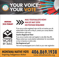 YOUR VOICEYOUR VOTETIVE VNATIVINDIGENOUMAIL YOUR BALLOTS NOW!MONTANAMAIL BY MAY 25TH!2020 PRIMARYNO POSTAGE REQUIRED!If you are an active registered voter and do not receivesentee ballot in the mail on May 8, contact your county electionadministrators right away.Inactive Registered VoterIf you are an inactive voter and register to vote after May 8th.Please contact your county election administrator for more detailson how to become an active voter.ab-yourVOTEBY MAILNot Registered yet?Visit www.myvoterpagemt.com to check on your voter registrationMONTANA NATIVE VOTE 406.869.1938Inspiring Indigenous Actionwww.mtnativevote.orgYOECHOYSACTIINSPIRE YOUR VOICE YOUR VOTE TIVE V NATIV INDIGENOU MAIL YOUR BALLOTS NOW! MONTANA MAIL BY MAY 25TH! 2020 PRIMARY NO POSTAGE REQUIRED! If you are an active registered voter and do not receive sentee ballot in the mail on May 8, contact your county election administrators right away. Inactive Registered Voter If you are an inactive voter and register to vote after May 8th. Please contact your county election administrator for more details on how to become an active voter. ab- your VOTE BY MAIL Not Registered yet? Visit www.myvoterpagemt.com to check on your voter registration MONTANA NATIVE VOTE 406.869.1938 Inspiring Indigenous Action www.mtnativevote.org YOE CHOY SACTI INSPIRE