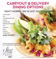 CARRYOUT & DELIVERYDINING OPTIONSDON'T WORRY - WE'VE GOT YOU COVEREDCASA DEL BARCOCAVATHE CHEESECAKE FACTORYCHIPOTLECOOPER'S HAWKFIREBIRDS WOOD FIRED GRILLLEHJAMAGGIANO'SMEZEHRED ROBINTHE BOATHOUSEAND MORE!*Visit ShortPumpTownCenter.comfor a complete list of restaurants!PUMPTOWN CENTER11800 West Broad StreetRichmond, Virginia*Restaurants will be operating with limited hours, please call ahead to confirm. CARRYOUT & DELIVERY DINING OPTIONS DON'T WORRY - WE'VE GOT YOU COVERED CASA DEL BARCO CAVA THE CHEESECAKE FACTORY CHIPOTLE COOPER'S HAWK FIREBIRDS WOOD FIRED GRILL LEHJA MAGGIANO'S MEZEH RED ROBIN THE BOATHOUSE AND MORE!* Visit ShortPumpTownCenter.com for a complete list of restaurants! PUMP TOWN CENTER 11800 West Broad Street Richmond, Virginia *Restaurants will be operating with limited hours, please call ahead to confirm.