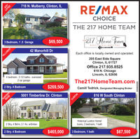 718 N. Mulberry, Clinton, ILLISTEDRE/MAXCHOICETHE 217 HOME TEAM3 Bedroom, 1.5 Garage217 Heme Team$69,500THE42 Manorhill DrRESULTS THAT MOVE YOUHILLCRESTEach office is locally owned and operated.205 East Side SquareClinton, IL 61727Office 217.935.85254 bedroom - 3 1/2 baths - oversized618 N. ChicagoLincoln, IL 626562 car garage2 Stry. 4 BedroomThe217HomeTeam.com$269,500HUNTERSRIDGECamill Tedrick, Designated Managing Broker5001 Timberline Dr. Clinton816 W South ClintonCLINTON2 Stry, 4 Bdrm, 3.1 Ac. w/timber.Historical Lustron Home!2 Stry. 4 BedroomIconic, 3 bedroom, 1 bath$465,0003 Bedroom, 1 bath$67,500JUST05082020 718 N. Mulberry, Clinton, IL LISTED RE/MAX CHOICE THE 217 HOME TEAM 3 Bedroom, 1.5 Garage 217 Heme Team $69,500 THE 42 Manorhill Dr RESULTS THAT MOVE YOU HILLCREST Each office is locally owned and operated. 205 East Side Square Clinton, IL 61727 Office 217.935.8525 4 bedroom - 3 1/2 baths - oversized 618 N. Chicago Lincoln, IL 62656 2 car garage 2 Stry. 4 Bedroom The217HomeTeam.com $269,500 HUNTERS RIDGE Camill Tedrick, Designated Managing Broker 5001 Timberline Dr. Clinton 816 W South Clinton CLINTON 2 Stry, 4 Bdrm, 3.1 Ac. w/timber. Historical Lustron Home! 2 Stry. 4 Bedroom Iconic, 3 bedroom, 1 bath $465,000 3 Bedroom, 1 bath $67,500 JUST 05082020