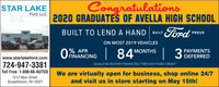 Congratulations2020 GRADUATES OF AVELLA HIGH SCHOOLFordSTAR LAKEFord, LLCBUILT TO LEND A HAND BUILTPROUDTAR LAREON MOST 2019 VEHICLES0% APRO FINANCING  84'3 PAYMENTSDEFERREDMONTHSwww.starlakeford.com724-947-3381Toll Free: 1-800-66-AUTOSQUALIFIED BUYERS FINANCING THROUGH FORD CREDIT1212 Main Street,Burgettstown, PA 15021We are virtually open for business, shop online 24/7and visit us in store starting on May 15th! Congratulations 2020 GRADUATES OF AVELLA HIGH SCHOOL Ford STAR LAKE Ford, LLC BUILT TO LEND A HAND BUILT PROUD TAR LARE ON MOST 2019 VEHICLES 0% APR O FINANCING   84' 3 PAYMENTS DEFERRED MONTHS www.starlakeford.com 724-947-3381 Toll Free: 1-800-66-AUTOS QUALIFIED BUYERS FINANCING THROUGH FORD CREDIT 1212 Main Street, Burgettstown, PA 15021 We are virtually open for business, shop online 24/7 and visit us in store starting on May 15th!
