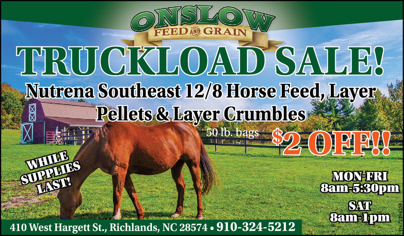 ONSILOWTRUCKLOAD SALE!Nutrena Southeast 12/8 Horse Feed, LayerPellets & Layer CrumblesFEED AND GRAIN50 lb. bags$2OFFIWHILESUPPLIESLAST!MON-FRI8am-5:30pmSAT8am-lpm410 West Hargett St., Richlands, NC 28574 910-324-5212 ONSILOW TRUCKLOAD SALE! Nutrena Southeast 12/8 Horse Feed, Layer Pellets & Layer Crumbles FEED AND GRAIN 50 lb. bags $2OFFI WHILE SUPPLIES LAST! MON-FRI 8am-5:30pm SAT 8am-lpm 410 West Hargett St., Richlands, NC 28574 910-324-5212