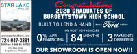 Congratulations2020 GRADUATES OFBURGETTSTOWN HIGH SCHOOLSTAR LAKEFord, LLCBUILT TO LEND A HANDFord nouDON MOST 2019 VEHICLES  3% APRMONTHSPAYMENTSwww.starlakeford.comOFINANCING 84'724-947-3381Toll Free: 1-800-66-AUTOSDEFERREDQUALIFIED BUYERS FINANCING THROUGH FORD CREDIT1212 Main Street,Burgettstown, PA 15021OUR SHOWROOM IS OPEN NOW!! Congratulations 2020 GRADUATES OF BURGETTSTOWN HIGH SCHOOL STAR LAKE Ford, LLC BUILT TO LEND A HAND Ford nouD ON MOST 2019 VEHICLES   3 % APR MONTHS PAYMENTS www.starlakeford.com OFINANCING 84' 724-947-3381 Toll Free: 1-800-66-AUTOS DEFERRED QUALIFIED BUYERS FINANCING THROUGH FORD CREDIT 1212 Main Street, Burgettstown, PA 15021 OUR SHOWROOM IS OPEN NOW!!
