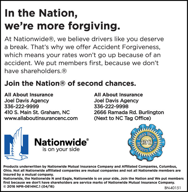 In the Nation,we're more forgiving.At Nationwide®, we believe drivers like you deservea break. That's why we offer Accident Forgiveness,which means your rates won't go up because of anaccident. We put members first, because we don'thave shareholders.®Join the Nation® of second chances.All About InsuranceAll About InsuranceJoel Davis Agency336-222-9999Joel Davis Agency336-222-9998410 S. Main St. Graham, NCwww.allaboutinsurancenc.com2666 Ramada Rd. Burlington(Next to NC Tag Office)TewsNationwideis on your side2017Products underwritten by Nationwide Mutual Insurance Company and Affiliated Companies, Columbus,Ohio. Not all Nationwide affiliated companies are mutual companies and not all Nationwide members areinsured by a mutual company.Nationwide, the Nationwide N and Eagle, Nationwide is on your side, Join the Nation and We put membersfirst because we don't have shareholders are service marks of Nationwide Mutual Insurance Company.© 2016 NPR-0614NC.1 (04/16)BN-31081TimesReater In the Nation, we're more forgiving. At Nationwide®, we believe drivers like you deserve a break. That's why we offer Accident Forgiveness, which means your rates won't go up because of an accident. We put members first, because we don't have shareholders.® Join the Nation® of second chances. All About Insurance All About Insurance Joel Davis Agency 336-222-9999 Joel Davis Agency 336-222-9998 410 S. Main St. Graham, NC www.allaboutinsurancenc.com 2666 Ramada Rd. Burlington (Next to NC Tag Office) Tews Nationwide is on your side 2017 Products underwritten by Nationwide Mutual Insurance Company and Affiliated Companies, Columbus, Ohio. Not all Nationwide affiliated companies are mutual companies and not all Nationwide members are insured by a mutual company. Nationwide, the Nationwide N and Eagle, Nationwide is on your side, Join the Nation and We put members first because we don't have shareholders are service marks of Nationwide Mutual Insurance Company. © 2016 NPR-0614NC.1 (04/16) BN-31081 Times Reater