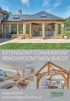 EXTENSION? CONVERSION?RENOVATION? NEW BUILD?01865 823103HERITAGECONSTRUCTIONwww.heritageoxford.co.uk EXTENSION? CONVERSION? RENOVATION? NEW BUILD? 01865 823103 HERITAGE CONSTRUCTION www.heritageoxford.co.uk