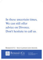 In these uncertain times,We can still offeradvice on Divorce.Don't hesitate to call us.Benussi & Co - here to protect your interests.B Benussi&Co0121 248 4001Email: info@benussilaw.co.ukMatrimonial & Family Law Limitedwww.benussilaw.co.uk In these uncertain times, We can still offer advice on Divorce. Don't hesitate to call us. Benussi & Co - here to protect your interests. B Benussi&Co 0121 248 4001 Email: info@benussilaw.co.uk Matrimonial & Family Law Limited www.benussilaw.co.uk