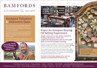 BAMFORDSAUCTIONEERS & VALUERSAntiques Valuation& Discovery DaysWe hold weekly and monthly valuationdays across the Midlands that you canattend and bring any items of interest tofor a free valuation.Enjoy An Antiques BuyingOr Selling Experience.Our team of valuers are also available atboth our Derby and Bakewell offices toassist in all areas and we also offer freeEnjoy a day out at one of the country'sleading salerooms, search forundiscovered treasures and try out yourskills at real life bargain hunting.home visits.For further information please call or visitour website www.bamfords-auctions.co.ukGuinness WorldRecord BreakingAuctioneer,James LewisBased in two very different Derbyshire locations oursalerooms offer one thing in common, a great serviceand a fun antiques buying or selling experience.Our professional, yet friendly and helpful team, willensure you get the best from the auction experiencewith valuers specialising in the sale and valuation ofall areas of antiques and fine art.An 18th century Irishshell work botanicalarrangement, 1740 - 1770Sold for £13,000For further information please call or visit ourwebsite www.bamfords-auctions.co.ukThe Derby Auction House | Chequers Road | Derby | DE21 6EN | 01332 210000 | sales@bamfords-auctions.co.ukThe Bakewell Auction House | Peak Village Shopping Centre | Rowsley | Bakewell | DE4 2JE01629 730920 | bakewell@bamfords-auctions.co.uk BAMFORDS AUCTIONEERS & VALUERS Antiques Valuation & Discovery Days We hold weekly and monthly valuation days across the Midlands that you can attend and bring any items of interest to for a free valuation. Enjoy An Antiques Buying Or Selling Experience. Our team of valuers are also available at both our Derby and Bakewell offices to assist in all areas and we also offer free Enjoy a day out at one of the country's leading salerooms, search for undiscovered treasures and try out your skills at real life bargain hunting. home visits. For further information please call or visit our website w