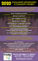 2020 SCHOLARSHIP OPPORTUNITIES& COMMUNITY AWARDS!Awarded to Students or Schools Participating in the FREDDY Awards Program*1.5 million in College Scholarship Opportunities and paid internshipshave been awarded to participating FREDDY Awards students!WEST VIRGINIA UNIVERSITY2 SCHOLARSHIPS - full tuition in Musical Theatre & Theatre Design/TechnologyDESALES UNIVERSITY4 SCHOLARSHIPS - 15,000 per year, renewable for 3 yearsMUHLENBERG COLLEGESCHOLARSHIP - 15,000 per year, renewable for 3 yearsCEDAR CREST COLLEGESCHOLARSHIP - *1,500 per year, renewable for 3 yearsNORTHAMPTON COMMUNITY COLLEGESCHOLARSHIP - '1,000 per year for 1 yearEAST STROUDSBURG UNIVERSITY2 SCHOLARSHIPS - Musical Theatre & Tech/Stage Management/Design, '1,000 per year for 1 yearCIVIC THEATRE OUTSTANDINGSTUDENT DIRECTOR AWARD & INTERNSHIPas Assistant Director on a Mainstage ProductionPA YOUTH BALLET/BALLET GUILD of LVScholarships to Summer Dance IntensiveThanks To The Following Business And Community Partners,A Fund Has Been Created And Cash Awards Will Be Equally DistributedTo The Theatre Departments Of All 29 Freddy Participating SchoolsAIR PRODUCTSFIRST COMMONWEALTH FEDERAL CREDIT UNIONLEHIGHVALLEYLIVE.COM / EXPRESS-TIMESR. RICHARD KNAUSS FOUNDATIONMOWAD TURF SPECIALISTS, LLCJOEL SHIMERFor details visit www.freddyawards.orgFreddy WATCH THE FREDDY® TV SPECIALMAY 21ST. 7 PM ON WFMZ!The State Theatre Center for the ArtsAwardsState Theatre Center for the Arts453 Northampton St., Easton, PA 2020 SCHOLARSHIP OPPORTUNITIES & COMMUNITY AWARDS! Awarded to Students or Schools Participating in the FREDDY Awards Program *1.5 million in College Scholarship Opportunities and paid internships have been awarded to participating FREDDY Awards students! WEST VIRGINIA UNIVERSITY 2 SCHOLARSHIPS - full tuition in Musical Theatre & Theatre Design/Technology DESALES UNIVERSITY 4 SCHOLARSHIPS - 15,000 per year, renewable for 3 years MUHLENBERG COLLEGE SCHOLARSHIP - 15,000 per year, renewable for 3 years CEDAR CREST COLLEGE S