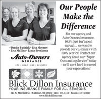 "Our PeopleMake theDifferenceFor our agency, andAuto-Owners Insurance,99.9% just isn't goodenough... we want toprovide our customers with100% service! Contact our Denise Budnick  Lisa Moomey Lisa Mullins  Linda BronkemaAuto-Ownersagency about our ""SuperOutstanding Service"" today- we'll work hard to exceedyour expectations!INSURANCELIFE · HOME · CAR · BUSINESSBlick Dillon InsuranceYOUR INSURANCE FAMILY FOR ALL SEASONS123 N. Mitchell St.  Cadillac, MI 49601  (231) 775-3416  Fax (231) 775-0817www.blickdillon.com Our People Make the Difference For our agency, and Auto-Owners Insurance, 99.9% just isn't good enough... we want to provide our customers with 100% service! Contact our  Denise Budnick  Lisa Moomey  Lisa Mullins  Linda Bronkema Auto-Owners agency about our ""Super Outstanding Service"" today - we'll work hard to exceed your expectations! INSURANCE LIFE · HOME · CAR · BUSINESS Blick Dillon Insurance YOUR INSURANCE FAMILY FOR ALL SEASONS 123 N. Mitchell St.  Cadillac, MI 49601  (231) 775-3416  Fax (231) 775-0817 www.blickdillon.com"