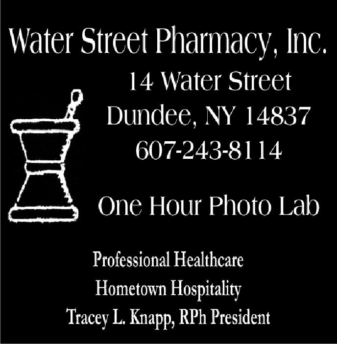 Water Street Pharmacy, Inc.14 Water StreetDundee, NY 14837607-243-8114One Hour Photo LabProfessional HealthcareHometown HospitalityTracey L. Knapp, RPh President Water Street Pharmacy, Inc. 14 Water Street Dundee, NY 14837 607-243-8114 One Hour Photo Lab Professional Healthcare Hometown Hospitality Tracey L. Knapp, RPh President