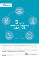SAFETYCENTERED ON YoU1. MANDATORYMASKING5 wayswe're putting yoursafety first.5. VIRTUALVISITS2. DEEPCLEANING4. SCREENINGEVERYONE3. PHYSICALDISTANCINGWE WANT YOU TO FEEL SAFE TAKING CARE OF YOUR HEALTH AGAIN. That's why we've putthoughtful and extensive safety precautions in place at all of our facilities  hospitals, clinics, doctor'soffices and more. And it's why we will continue working to enhance safety through COVID-19 andbeyond. So reschedule that procedure or screening. Visit your doctor. If you need it, seek emergencycare. And know that we are ready to care for you in the smartest, safest way possible. Learn about allthe ways we are keeping you safe at BaptistHealth.com/StaySafe.Corbin | Floyd | La Grange | Lexington | Louisville | Madisomville | Paducah | RichmondBAPTIST HEALTHO BaptistHealth.com SAFETY CENTERED ON YoU 1. MANDATORY MASKING 5 ways we're putting your safety first. 5. VIRTUAL VISITS 2. DEEP CLEANING 4. SCREENING EVERYONE 3. PHYSICAL DISTANCING WE WANT YOU TO FEEL SAFE TAKING CARE OF YOUR HEALTH AGAIN. That's why we've put thoughtful and extensive safety precautions in place at all of our facilities  hospitals, clinics, doctor's offices and more. And it's why we will continue working to enhance safety through COVID-19 and beyond. So reschedule that procedure or screening. Visit your doctor. If you need it, seek emergency care. And know that we are ready to care for you in the smartest, safest way possible. Learn about all the ways we are keeping you safe at BaptistHealth.com/StaySafe. Corbin | Floyd | La Grange | Lexington | Louisville | Madisomville | Paducah | Richmond BAPTIST HEALTH O BaptistHealth.com