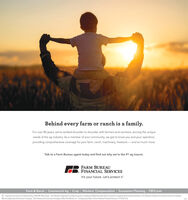 """Behind every farm or ranch is a family.For over 80 years, we've worked shoulder to shoulder with farmers and ranchers, serving the uniqueneeds of the ag industry. As a member of your community, we get to know you and your operation,providing comprehensive coverage for your farm, ranch, machinery, livestock and so much more.Talk to a Farm Bureau agent today and find out why we're the #1 ag insurer.FARM BUREAUFINANCIAL SERVICESIt's your future. Let's protect itFarm & Ranch 