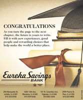 CONGRATULATIONSAs you turn the page to the nextchapter, the future is yours to write.Fill it with new experiences, goodpeople and rewarding choices thathelp make the world a better place.Eureka SavingsBANKwww.eurekasavings.comMEMBERFDIC250 Marquette St.LaSalle, IL 613011300 13th Ave.101 N. Columbia Ave.2959 Peoria St.Oglesby, IL 61348815-883-3354Mendota, IL 61342Peru, IL 61354815-223-9400815-223-0700815-539-5656SM-LA1774200 CONGRATULATIONS As you turn the page to the next chapter, the future is yours to write. Fill it with new experiences, good people and rewarding choices that help make the world a better place. Eureka Savings BANK www.eurekasavings.com MEMBER FDIC 250 Marquette St. LaSalle, IL 61301 1300 13th Ave. 101 N. Columbia Ave. 2959 Peoria St. Oglesby, IL 61348 815-883-3354 Mendota, IL 61342 Peru, IL 61354 815-223-9400 815-223-0700 815-539-5656 SM-LA1774200