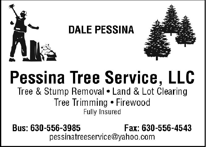 DALE PESSINAPessina Tree Service, LLCTree & Stump Removal  Land & Lot ClearingTree Trimming  FirewoodFully InsuredBus: 630-556-3985Fax: 630-556-4543pessinatreeservice@yahoo.com DALE PESSINA Pessina Tree Service, LLC Tree & Stump Removal  Land & Lot Clearing Tree Trimming  Firewood Fully Insured Bus: 630-556-3985 Fax: 630-556-4543 pessinatreeservice@yahoo.com