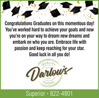 Congratulations Graduates on this momentous day!You've worked hard to achieve your goals and nowyou're on your way to dream new dreams andembark on who you are. Embrace life withpassion and keep reaching for your star.Good luck in all you do!QUALITYDarlowsSINCE2019FOODSSuperior · 822-4801 Congratulations Graduates on this momentous day! You've worked hard to achieve your goals and now you're on your way to dream new dreams and embark on who you are. Embrace life with passion and keep reaching for your star. Good luck in all you do! QUALITY Darlows SINCE 2019 FOODS Superior · 822-4801