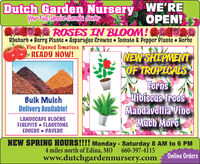 Dutch Garden Nursery WE'REYour Full Senice Garden CenterOPEN!COCDO ROSES IN BLOOM!ORhubarb  Berry Plants Asparagus Crowns  Tomato & Pepper Plants HerbsVine Ripened TomatoesREADY NOW!INEWATHS MENOF TROPICALSFernsHibiscus TreesMandavellia VinePMuch MoreBulk MulchDelivery Available!LANDSCAPE BLOCKSFIREPITS  FLAGSTONEEDGERS  PAVERSNEW SPRING HOURS!!!! Monday - Saturday 8 AM to 6 PM4 miles north of Edina, MO660-397-4115www.dutchgardennursery.comOnline Orders Dutch Garden Nursery WE'RE Your Full Senice Garden Center OPEN! COCDO ROSES IN BLOOM!O Rhubarb  Berry Plants Asparagus Crowns  Tomato & Pepper Plants Herbs Vine Ripened Tomatoes READY NOW! INEWATHS MEN OF TROPICALS Ferns Hibiscus Trees Mandavellia Vine PMuch More Bulk Mulch Delivery Available! LANDSCAPE BLOCKS FIREPITS  FLAGSTONE EDGERS  PAVERS NEW SPRING HOURS!!!! Monday - Saturday 8 AM to 6 PM 4 miles north of Edina, MO 660-397-4115 www.dutchgardennursery.com Online Orders
