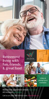 A TASTEFORRetirementLIFEWILLISTONliving withfun, friends& great foodHARRO LANING EGINAVideo &phone toursavailable!Retirement apartment rentals from $2125.All inclusive from $2950.Call us on (306) 209 5414 or visit thewilliston.ca A TASTE FOR Retirement LIFE WILLISTON living with fun, friends & great food HARRO LANING EGINA Video & phone tours available! Retirement apartment rentals from $2125. All inclusive from $2950. Call us on (306) 209 5414 or visit thewilliston.ca