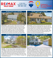 RE/MAX103 Main StreetRE/MAXChildren'sMiracle NetwonkHospitalsOld Saybrook, CT 06475860-388-1228VALLEY SHOREHOME FOR SALE! $499,900HOME FOR SALE! $339,900Old Saybrook - Totally renovated in 2000, the home boasts an openfloor plan with minimal maintenance. Enter the tile foyer into theliving room, and see the pretty brick fireplace; all open to the diningroom area; open to white kitchen with glass front cabinetry, pantrycloset and stainless appliances. There is an island separating thekitchen from the vaulted ceiling family room. Down the hall finda family bath and two bedrooms. The master has vaulted ceilings,French door access to privately sited rear deck, and a walk in closet.Old Saybrook - Nestled in desirable Saybrook Acres, this chaminghome is located steps to Kavanaugh Park! This charming Cape Codboasting a large breezeway connecting house to garage, has been hometo the same family since it was built in 1960 and well maintained!First floor offers an eat-in kitchen, front dining room, a large livingroom with fireplace and bay window plus there's a den'office, perfectfor those now working from home plus a half bath. Upstairs are 3generous sized rooms, all with hardwood floors.HOME FOR SALE! $179,487HOME FOR SALE! $506,500Montville - 1902 Farm House with big Country Kitchen with Stainless Old Lyme - Walking through the front door you immediately feelSteel appliances. Master off the Kitchen with full bath and walk-incloset. Sliders on both ends of the living room and a den all with wood with center fireplace, bay windows, large remodeled kitchen withfloors. Another bedroom and an enclosed wrap around porch finishthe Main floor. The upper level needs some work. The attic area is onthe upper level and has water pipes for finishing off. This yard is really a den with its own private entrance. Master suite with large dressingprivate and pretty, you'll have over 5 acres. Detached 2 car garage with room and full laundry area, master bath with walk in shower and jettedcovered back awning area.how light and bright this home is. Large dining room, living roomgranite counters, breakfast bar with gas range top, eat in area with agas fireplace, walls of windows and skylights. Also on the first floor istub. There is also a partial finished basement for entertaining. RE/MAX 103 Main Street RE/MAX Children's Miracle Netwonk Hospitals Old Saybrook, CT 06475 860-388-1228 VALLEY SHORE HOME FOR SALE! $499,900 HOME FOR SALE! $339,900 Old Saybrook - Totally renovated in 2000, the home boasts an open floor plan with minimal maintenance. Enter the tile foyer into the living room, and see the pretty brick fireplace; all open to the dining room area; open to white kitchen with glass front cabinetry, pantry closet and stainless appliances. There is an island separating the kitchen from the vaulted ceiling family room. Down the hall find a family bath and two bedrooms. The master has vaulted ceilings, French door access to privately sited rear deck, and a walk in closet. Old Saybrook - Nestled in desirable Saybrook Acres, this chaming home is located steps to Kavanaugh Park! This charming Cape Cod boasting a large breezeway connecting house to garage, has been home to the same family since it was built in 1960 and well maintained! First floor offers an eat-in kitchen, front dining room, a large living room with fireplace and bay window plus there's a den'office, perfect for those now working from home plus a half bath. Upstairs are 3 generous sized rooms, all with hardwood floors. HOME FOR SALE! $179,487 HOME FOR SALE! $506,500 Montville - 1902 Farm House with big Country Kitchen with Stainless Old Lyme - Walking through the front door you immediately feel Steel appliances. Master off the Kitchen with full bath and walk-in closet. Sliders on both ends of the living room and a den all with wood with center fireplace, bay windows, large remodeled kitchen with floors. Another bedroom and an enclosed wrap around porch finish the Main floor. The upper level needs some work. The attic area is on the upper level and has water pipes for finishing off. This yard is really a den with its own private entrance. Master suite with large dressing private and pretty, you'll have over 5 acres. Detached 2 car garage with room and full laundry area, master bath with walk in shower and jetted covered back awning area. how light and bright this home is. Large dining room, living room granite counters, breakfast bar with gas range top, eat in area with a gas fireplace, walls of windows and skylights. Also on the first floor is tub. There is also a partial finished basement for entertaining.