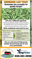 REMEMBER LAST YEAR?Remember the scramble forquality forage?Let's try a different approach.We have the innovative solutions to help you maximizeyour digestible fiber per acre this spring and summer.Spring small grains followed by summer annuals.Which combination works best for you?Some of our summer options: Forage Sorghum Sorghum sudan Sudangrass Photo period sensitive Teff Brachytic dwarf, higher leafto stem ratio Gene 6 for highest fiberdigestibility Available in organicGive us a call and we'll help you puttogether the best forage plan for youracres and livestock.BetterBridgeThetoPREMIUM SEEDSKingFisherByron Seeds Le 800-801-3596SMLART110Ferages REMEMBER LAST YEAR? Remember the scramble for quality forage? Let's try a different approach. We have the innovative solutions to help you maximize your digestible fiber per acre this spring and summer. Spring small grains followed by summer annuals. Which combination works best for you? Some of our summer options:  Forage Sorghum  Sorghum sudan  Sudangrass  Photo period sensitive  Teff  Brachytic dwarf, higher leaf to stem ratio  Gene 6 for highest fiber digestibility  Available in organic Give us a call and we'll help you put together the best forage plan for your acres and livestock. Better Bridge The to PREMIUM SEEDS KingFisher Byron Seeds Le 800-801-3596 SMLART110 Ferages