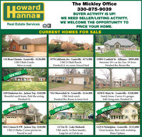 TowardannanThe Mickley Office330-875-9039BUYER ACTIVITY IS UP!WE NEED SELLER/LISTING ACTIVITY.Real Estate ServicesWE WELCOME THE OPPORTUNITY TOPRICE YOUR HOME.CURRENT HOMES FOR SALE134 Beau Chemin - Louisville - $128,0001579 California Ave - Louisville - $174,9003 Bd 2.5 Bath Ranch.Finished LL rec room. Fenced Yard15981 Cenfield St - Alliance - $895,000Awesome 10+ car det. Gar. 10 AcresFinished Rec Room/Bar2 Bd 2 Bath Condo.Move in readyNEW PRICE3189 Dunbarton Ave. - Jackson Twp - $349,900Beautiful ranch home. Park like setting.Finished LL7451 Hooverdale St - Louisville - $144,9003 Bd. brick ranchFinished Rec Room in lower level1630 E Main St - Louisville - $338,000Stately home. 3 acres. 6+ garages.Add. living suite. Finished LLNEW LISTINGNEW LISTINGNEW LISTING9641 Crimson St NW - Jackson Twp- $249,9003 Bd 2.5 Baths. Corner private lot.Fenced in yard11 Ute Tr - Lake Mohawk3 Bd. ranch, 1st floor laundry.Large lot on Cul-de-sac1125 S Nickelplate - Louisville - $112,000Great location. Barn with workshop.Many Updates. Toward annan The Mickley Office 330-875-9039 BUYER ACTIVITY IS UP! WE NEED SELLER/LISTING ACTIVITY. Real Estate Services WE WELCOME THE OPPORTUNITY TO PRICE YOUR HOME. CURRENT HOMES FOR SALE 134 Beau Chemin - Louisville - $128,000 1579 California Ave - Louisville - $174,900 3 Bd 2.5 Bath Ranch. Finished LL rec room. Fenced Yard 15981 Cenfield St - Alliance - $895,000 Awesome 10+ car det. Gar. 10 Acres Finished Rec Room/Bar 2 Bd 2 Bath Condo. Move in ready NEW PRICE 3189 Dunbarton Ave. - Jackson Twp - $349,900 Beautiful ranch home. Park like setting. Finished LL 7451 Hooverdale St - Louisville - $144,900 3 Bd. brick ranch Finished Rec Room in lower level 1630 E Main St - Louisville - $338,000 Stately home. 3 acres. 6+ garages. Add. living suite. Finished LL NEW LISTING NEW LISTING NEW LISTING 9641 Crimson St NW - Jackson Twp- $249,900 3 Bd 2.5 Baths. Corner private lot. Fenced in yard 11 Ute Tr - Lake Mohawk 3 Bd. ranch, 1st floor laundry. Large lot on Cul-de-sac 1125 S Nickelplate - Louisville - $112,000 Great location. Barn with workshop. Many Updates.