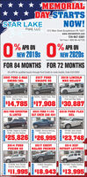 MEMORIALDAY-STARTSNOW!SITAR LAKEFord, LLC1212 Main Street Burgettstown,PA 15021www.starlakeford.com724-947-3381Toll Free:1-800-66-AUTOS% APR ONNEW 2019s% APR ONNEW 2020sFOR 84 MONTHS FOR 72 MONTHS0% APR for qualified buyers through Ford Credit on most models. Ends 5/31/20202016 FORD C-MAXENERGI SEL2017 FORDESCAPE SE2018 LINCOLNMKZ SELECTP90980, Leather Heated Seats,Rear CameraP90050, Heated Seats, RearCameraP91230, Navigation, HeatedFront and Rear Seats$14,785 $17,908 $30,8872013 FORD EXPEDITIONEL LIMITED2015 FORD F-150XLT CREW CAB 4X42019 FORD FLEXSEL10159A, Heated & CooledSeats, 3rd Row Seating13269A, Reverse Sensing,Perimeter AlarmP91400, Auto climateControl, Remote Start25,826 $26,995 $23,7482014 FORDFUSION SE2017 CHEVYMALIBU PREMIER2014 JEEPPATRIOT LATITUDE15263A, Navigation,SunroofP9135M, Heated Seating.Low Miles07032M, Auto ClimateControl, Keyless Entry$I1,995$18,943$13,995REDUCED MEMORIAL DAY-STARTS NOW! SITAR LAKE Ford, LLC 1212 Main Street Burgettstown,PA 15021 www.starlakeford.com 724-947-3381 Toll Free:1-800-66-AUTOS % APR ON NEW 2019s % APR ON NEW 2020s FOR 84 MONTHS FOR 72 MONTHS 0% APR for qualified buyers through Ford Credit on most models. Ends 5/31/2020 2016 FORD C-MAX ENERGI SEL 2017 FORD ESCAPE SE 2018 LINCOLN MKZ SELECT P90980, Leather Heated Seats, Rear Camera P90050, Heated Seats, Rear Camera P91230, Navigation, Heated Front and Rear Seats $14,785 $17,908 $30,887 2013 FORD EXPEDITION EL LIMITED 2015 FORD F-150 XLT CREW CAB 4X4 2019 FORD FLEX SEL 10159A, Heated & Cooled Seats, 3rd Row Seating 13269A, Reverse Sensing, Perimeter Alarm P91400, Auto climate Control, Remote Start 25,826 $26,995 $23,748 2014 FORD FUSION SE 2017 CHEVY MALIBU PREMIER 2014 JEEP PATRIOT LATITUDE 15263A, Navigation, Sunroof P9135M, Heated Seating. Low Miles 07032M, Auto Climate Control, Keyless Entry $I1,995$18,943$13,995 REDUCED