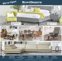 SCANDESIGNSWe're OpenQUALITY HOME FURNISHINGSAlice BedKing $598Queen $548Mission Accent ChairCrescent Night Table$158Many colours available$298Leon Walnut Buffet Nordic 21Victoria Dining Chair (Fabric)$198StekrThe AdmiralLeather Reciner$798Leather ReclinerMany colours in avalable$998$1998Potrero Dining TableCeremic top with 2 extensions$1498Marki SectionalMany colours availableFabric $1898Leather $2998702045198COQUITLAMLANGLEYRICHMONDKELOWNANANAIMOVICTORIA1400 United Blvd20429 Langley By-Pass12551 Bridgeport Rd1912 Spall Rd1711 Bowen Rd661 McCallum RdAccioted in soes604.524.3444604.530.8248604.273.2971250.860.7603250.753.6361250.475.2233SCANDESIGNS.COM | E SCANDESIGNSFURNITURE O SCANDESIGNS_FURNITURE SCANDESIGNS We're Open QUALITY HOME FURNISHINGS Alice Bed King $598 Queen $548 Mission Accent Chair Crescent Night Table $158 Many colours available $298 Leon Walnut Buffet Nordic 21 Victoria Dining Chair (Fabric) $198 Stekr The Admiral Leather Reciner $798 Leather Recliner Many colours in avalable $998 $1998 Potrero Dining Table Ceremic top with 2 extensions $1498 Marki Sectional Many colours available Fabric $1898 Leather $2998 7020 45 198 COQUITLAM LANGLEY RICHMOND KELOWNA NANAIMO VICTORIA 1400 United Blvd 20429 Langley By-Pass 12551 Bridgeport Rd 1912 Spall Rd 1711 Bowen Rd 661 McCallum Rd Accioted in soes 604.524.3444 604.530.8248 604.273.2971 250.860.7603 250.753.6361 250.475.2233 SCANDESIGNS.COM | E SCANDESIGNSFURNITURE O SCANDESIGNS_FURNITURE
