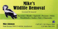 Mike'sWildlife RemovalLicensed & InsuredRaccoons  Skunks  Squirrels  Possums  MolesWoodchucks Snakes Bats ChipmunksMike AtkinsonCall 24/7, 365 Days a YearState license NWCO #0358, MiddlefieldCell 860-306-1991R228027v2 Mike's Wildlife Removal Licensed & Insured Raccoons  Skunks  Squirrels  Possums  Moles Woodchucks Snakes Bats Chipmunks Mike Atkinson Call 24/7, 365 Days a Year State license NWCO #0358, Middlefield Cell 860-306-1991 R228027v2