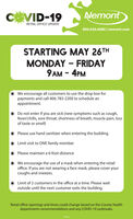 CEVID-19NemontRETAIL OFFICE UPDATE800.636.6680 | nemont.comSTARTING MAY 26THMONDAY - FRIDAY9 AM - 4PMWe encourage all customers to use the drop box forpayments and call 406-783-2200 to schedule anappointment.Do not enter if you are sick (new symptoms such as cough,fever/chills, sore throat, shortness of breath, muscle pain, lossof taste or smell)Please use hand sanitizer when entering the buildingLimit visit to ONE family memberPlease maintain a 6-foot distanceWe encourage the use of a mask when entering the retailoffice. If you are not wearing a face mask, please cover yourcoughs and sneezes.Limit of 2 customers in the office at a time. Please waitoutside until the next customer exits the building.Retail office openings and times could change based on the County healthdepartments recommendations and any COVID-19 outbreaks. CEVID-19 Nemont RETAIL OFFICE UPDATE 800.636.6680 | nemont.com STARTING MAY 26TH MONDAY - FRIDAY 9 AM - 4PM We encourage all customers to use the drop box for payments and call 406-783-2200 to schedule an appointment. Do not enter if you are sick (new symptoms such as cough, fever/chills, sore throat, shortness of breath, muscle pain, loss of taste or smell) Please use hand sanitizer when entering the building Limit visit to ONE family member Please maintain a 6-foot distance We encourage the use of a mask when entering the retail office. If you are not wearing a face mask, please cover your coughs and sneezes. Limit of 2 customers in the office at a time. Please wait outside until the next customer exits the building. Retail office openings and times could change based on the County health departments recommendations and any COVID-19 outbreaks.