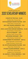 VISD educationFOUNDATIONInvesting in innovation & Inspirationproudly presents our2020 SCHOLARSHIP WINNERSATHLETE OF THE YEAR $1,000Madisen Gay, Victoria EastEDITH BARNHART MASTER TEACHER $500Sadie Duran, Victoria EastSHIV RAM CHANDNA MEMORIAL - $750Lyna Ong, Victoria EastJENICA LEIGH EDGE BARNARD MEMORIAL - $1,500Jacob Padron, Victoria WestWILLIS GATHRIGHT - $500Brittany Usoff, Victoria WestBOB MOORE HONORARY - $500Alicia Huerta, Victoria EastSCHORLEMMER PTO HONORARY - $500 (2)Rama Hamoudah, Victoria WestTeagan Wertman, Victoria EastDR. JOYCE SLONE MASTER TEACHER - $500Macy Cruz, Victoria EastSTUDENT LEADER HONORARY - $500 (2)Julia Clark, Victoria WestMargaret Liu, Victoria EastDR. MARTHA A. ZUNIGA MEMORIAL - $500Hansa Saif, Victoria West VISD education FOUNDATION Investing in innovation & Inspiration proudly presents our 2020 SCHOLARSHIP WINNERS ATHLETE OF THE YEAR $1,000 Madisen Gay, Victoria East EDITH BARNHART MASTER TEACHER $500 Sadie Duran, Victoria East SHIV RAM CHANDNA MEMORIAL - $750 Lyna Ong, Victoria East JENICA LEIGH EDGE BARNARD MEMORIAL - $1,500 Jacob Padron, Victoria West WILLIS GATHRIGHT - $500 Brittany Usoff, Victoria West BOB MOORE HONORARY - $500 Alicia Huerta, Victoria East SCHORLEMMER PTO HONORARY - $500 (2) Rama Hamoudah, Victoria West Teagan Wertman, Victoria East DR. JOYCE SLONE MASTER TEACHER - $500 Macy Cruz, Victoria East STUDENT LEADER HONORARY - $500 (2) Julia Clark, Victoria West Margaret Liu, Victoria East DR. MARTHA A. ZUNIGA MEMORIAL - $500 Hansa Saif, Victoria West