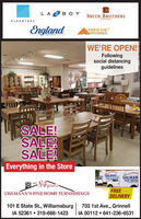 LAZBO Y SMITH BROTHERSERNEFLEXSTEELEnglandASHEEYWE'RE OPEN!Followingsocial distancingguidelinesSALE!SALE!SALE!Everything in the StoreUHLMANÜHLMANHOME FURNISHverUHLMÁNN'S FINE HOME FURNISHINGSFREEDELIVERY101 E State St., WilliamsburgIA 52361  319-668-1423703 1st Ave., GrinnellIA 50112  641-236-6531 LAZBO Y SMITH BROTHERS ERNE FLEXSTEEL England ASHEEY WE'RE OPEN! Following social distancing guidelines SALE! SALE! SALE! Everything in the Store UHLMAN ÜHLMAN HOME FURNISH ver UHLMÁNN'S FINE HOME FURNISHINGS FREE DELIVERY 101 E State St., Williamsburg IA 52361  319-668-1423 703 1st Ave., Grinnell IA 50112  641-236-6531