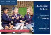 bravely faithfully happilyfortiter fideliterfeliciterSt. Aubyn'sSchoolFor further information contact theAdmissions Registrar.registrar@staubyns.com020 8504 1577Bunces LaneWoodford GreenEssex IG8 9DUwww.staubyns.comco-educational independent age 3 to 13 e central line woodfordRegistered Charity No: 270143 bravely faithfully happily fortiter fideliter feliciter St. Aubyn's School For further information contact the Admissions Registrar. registrar@staubyns.com 020 8504 1577 Bunces Lane Woodford Green Essex IG8 9DU www.staubyns.com co-educational independent age 3 to 13 e central line woodford Registered Charity No: 270143