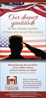 Our deepestgratitudefor the ultimate sacrificeof those who served this country.Remembering the sacrificesof our fallen heroesand our heroes on watchfrom our family to yours.We have always beengrateful for their service toour country and our people,while serving the Peninsulafor more than 90 years!PENINSULAFUNERAL HOME&CREMATORYOwned and operated by the Turbyfill family since 192711144 Warwick Blvd., Newport News (Corner of Worwick Blvd. & Harpersville Rd)757-595-4424 - www.peninsulafuneralhome.com Our deepest gratitude for the ultimate sacrifice of those who served this country. Remembering the sacrifices of our fallen heroes and our heroes on watch from our family to yours. We have always been grateful for their service to our country and our people, while serving the Peninsula for more than 90 years! PENINSULA FUNERAL HOME &CREMATORY Owned and operated by the Turbyfill family since 1927 11144 Warwick Blvd., Newport News (Corner of Worwick Blvd. & Harpersville Rd) 757-595-4424 - www.peninsulafuneralhome.com