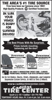 THE AREA'S #1 TIRE SOURCETires have been our business since 1965!High Quality Products Certified TechniciansBE SUREYOURVEHICLEIS READYFORSUMMERDRIVING!The Best Prices With No Surprises.Prices include mounting,balancing,out the door!FrestoneFrestoneUGHT TRUCK / SUV ALL-TERRAINDESTINATION A/TEnhanced traction in deepmud and snowAdapts to travel in wet ordry weatherTuned for a smooth andQuiet rideALL SEASON PERFORMANCECHAMPIONFuel Fighter Technology offersimproved roling restance, whichhelps increase fuel effceincy, ascompared to the Fiestone AfinityTouring tire.CALL OR STOPFOR COMPETITIVE70,000CALL OR STOP FORCOMPETITIVEOUT-THE-DOOR PRICESOUT-THE-DOORPRICESASK ABOUT A BRIDGESTONE CREDIT CARD - 6 MONTHPROMOTIONAL PAYMENT PLAN WITH APPROVED CREDITSee Us For Brakes, Shocks, Struts, Alignments, and CompleteSuspension System Service, As Well As Tires & Wheels.www.cadillactirecenter.comCadillacTIRE CENTERSouth U.S.-131  Cadillac  231-775-7382TEMPORARY HOURS: Mon.-Fri. 8 am-4 pm, Sat. 8 am-noon THE AREA'S #1 TIRE SOURCE Tires have been our business since 1965! High Quality Products Certified Technicians BE SURE YOUR VEHICLE IS READY FOR SUMMER DRIVING! The Best Prices With No Surprises. Prices include mounting, balancing,out the door! Frestone Frestone UGHT TRUCK / SUV ALL-TERRAIN DESTINATION A/T Enhanced traction in deep mud and snow Adapts to travel in wet or dry weather Tuned for a smooth and Quiet ride ALL SEASON PERFORMANCE CHAMPION Fuel Fighter Technology offers improved roling restance, which helps increase fuel effceincy, as compared to the Fiestone Afinity Touring tire. CALL OR STOP FOR COMPETITIVE 70,000 CALL OR STOP FOR COMPETITIVE OUT-THE-DOOR PRICES OUT-THE-DOOR PRICES ASK ABOUT A BRIDGESTONE CREDIT CARD - 6 MONTH PROMOTIONAL PAYMENT PLAN WITH APPROVED CREDIT See Us For Brakes, Shocks, Struts, Alignments, and Complete Suspension System Service, As Well As Tires & Wheels. www.cadillactirecenter.com Cadillac TIRE CENTER South U.S.-131  Cadillac  231-775-7382 TEMPO
