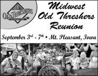MidwestOTSOld ThreshersOTURENTERSMT. PLEASANT IOAReunionSeptember 3rd - 7h  Mt. Pleasant, IowaLSESS SWE Midwest OTSOld Threshers OTURENTERS MT. PLEASANT IOA Reunion September 3rd - 7h  Mt. Pleasant, Iowa LSE SS SWE