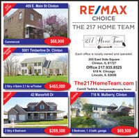 409 E. Main St ClintonLISTEDRE/MAXCHOICETHE 217 HOME TEAMCommercial$68,900HUNTERSRIDGE217 Heme JeamTHE5001 Timberline Dr. ClintonRESULTS THAT MOVE YOUEach office is locally owned and operated.205 East Side SquareClinton, IL 61727Office 217.935.8525618 N. ChicagoLincoln, IL 626562 Stry. 4 Bdrm 3.1 Ac w/Timber$465,000The217HomeTeam.com42 Manorhill DrCamill Tedrick, Designated Managing BrokerHILLCREST718 N. Mulberry, ClintonCLINTON2 Stry 4 Bedroom$269,5003 Bedroom, 1.5 bath, garage$69,500JUST05222020 409 E. Main St Clinton LISTED RE/MAX CHOICE THE 217 HOME TEAM Commercial $68,900 HUNTERS RIDGE 217 Heme Jeam THE 5001 Timberline Dr. Clinton RESULTS THAT MOVE YOU Each office is locally owned and operated. 205 East Side Square Clinton, IL 61727 Office 217.935.8525 618 N. Chicago Lincoln, IL 62656 2 Stry. 4 Bdrm 3.1 Ac w/Timber $465,000 The217HomeTeam.com 42 Manorhill Dr Camill Tedrick, Designated Managing Broker HILLCREST 718 N. Mulberry, Clinton CLINTON 2 Stry 4 Bedroom $269,500 3 Bedroom, 1.5 bath, garage $69,500 JUST 05222020