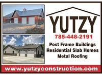 YUTZY785-448-2191Post Frame BuildingsResidential Slab HomesMetal Roofingwww.yutzyconstruction.com YUTZY 785-448-2191 Post Frame Buildings Residential Slab Homes Metal Roofing www.yutzyconstruction.com