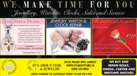 WE MAKE TIME FOR YOUJewellery, Watches, Clocks, Sales and ServiceTHE BIBLE PEARL'Wear the word of God close to your heartJEWELRY, WATCH &CLOCK REPAIR| The perfect gift foryourloved oneA first of its kind, the Bible Pearlis embedded with Momentowireless technology, Use with yoursmart phone to gain access to theWisdom of God's Word throughThe Daily Audio Bible or The JesusFilm in a beautiful pearl necklace.$119The Rose has long beena symbol of love & beauty.A real rose preserved in 21K goldAvailable in:14ct yellow gold or 14ct white goldStarting from: $119CANADIANIT'S ABOUT TIME& JEWELRY20235 FRASER HWY, LANGLEYwwW.ITSABOUTTIME.CAWE BUY ANDREPAIR ROLEX,OMEGA, CARTIER AND(604) 532-8831BREITLING WATCHESONOWHIOOPEN TUESDAY TO SATURDAY FROM 10 AM TO 4 PMCERTIFIED WE MAKE TIME FOR YOU Jewellery, Watches, Clocks, Sales and Service THE BIBLE PEARL' Wear the word of God close to your heart JEWELRY, WATCH & CLOCK REPAIR | The perfect gift foryour loved one A first of its kind, the Bible Pearl is embedded with Momento wireless technology, Use with your smart phone to gain access to the Wisdom of God's Word through The Daily Audio Bible or The Jesus Film in a beautiful pearl necklace. $119 The Rose has long been a symbol of love & beauty. A real rose preserved in 21K gold Available in: 14ct yellow gold or 14ct white gold Starting from: $119 CANADIAN IT'S ABOUT TIME & JEWELRY 20235 FRASER HWY, LANGLEY wwW.ITSABOUTTIME.CA WE BUY AND REPAIR ROLEX, OMEGA, CARTIER AND (604) 532-8831 BREITLING WATCHES ONOWHIO OPEN TUESDAY TO SATURDAY FROM 10 AM TO 4 PM CERTIFIED