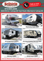 BeilsteinCall us nowCAMPER SALESfor the best prices.573-655-225428248 327th Ave.  LaGrange, MO Hwy 61 South, 4 Miles South of LaGrange, MOC04254FORESTE501535$69,995$17,9952019 Forester Ford LE 3251DSLE2 Large Slide-outs, Low Miles, Like New2012 Keystone Cougar 318SAB3 Slide-outs, Spacious Rear living room#0338454086691SALEM$10,495$18,495$31,4952017 KZ Sportsmen LE 261RLLELarge slide-out, rear living room2021 Salem Hemisphere Hyper-Lyte 25RBHLLarge living room Slide-out, rear bathF066851P070490SALEN$31,495$24,9952020 Salem 31KQBTS3 Slide-outs, Tons of space, Great family camper2018 KZ Connect 292BHK2 Slide-outs, Outdoor Kitchen, Loaded with OptionsVisit Our Website For More Great Bargains! www.beilsteincampersales.com Beilstein Call us now CAMPER SALES for the best prices. 573-655-2254 28248 327th Ave.  LaGrange, MO Hwy 61 South, 4 Miles South of LaGrange, MO C04254 FORESTE 501535 $69,995 $17,995 2019 Forester Ford LE 3251DSLE 2 Large Slide-outs, Low Miles, Like New 2012 Keystone Cougar 318SAB 3 Slide-outs, Spacious Rear living room #033845 4086691 SALEM $10,495 $18,495 $31,495 2017 KZ Sportsmen LE 261RLLE Large slide-out, rear living room 2021 Salem Hemisphere Hyper-Lyte 25RBHL Large living room Slide-out, rear bath F066851 P070490 SALEN $31,495 $24,995 2020 Salem 31KQBTS 3 Slide-outs, Tons of space, Great family camper 2018 KZ Connect 292BHK 2 Slide-outs, Outdoor Kitchen, Loaded with Options Visit Our Website For More Great Bargains! www.beilsteincampersales.com
