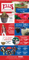 """ELLIS INVITES ALL SENIORS 60 AND UP TO SHOP WITHOUT CROWDS THURSDAYS FROM BAM -9AMELLISHome & GardenWood Window Box40°LX 12""""Wx 12""""H