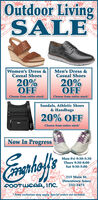 """Outdoor LivingSALEWomen's Dress &Casual ShoesMen's Dress &Casual Shoes20%OFFChoose from entire stock""""20%OFFChoose from entire stock""""Sandals, Athletic Shoes& Handbags20% OFFChoose from entire stockNow In ProgressMon-Fri 9:30-5:30Thurs 9:30-8:00Sat 9:30-5:00215 Main St.Downtown Ames00OTWCAR, INC.232-3473Some exclusions may apply. Special orders not included. Outdoor Living SALE Women's Dress & Casual Shoes Men's Dress & Casual Shoes 20% OFF Choose from entire stock"""" 20% OFF Choose from entire stock"""" Sandals, Athletic Shoes & Handbags 20% OFF Choose from entire stock Now In Progress Mon-Fri 9:30-5:30 Thurs 9:30-8:00 Sat 9:30-5:00 215 Main St. Downtown Ames 00OTWCAR, INC. 232-3473 Some exclusions may apply. Special orders not included."""