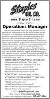 staplesOIL CO.www.StaplesOil.com-Now Hiring-Operations ManagerThis full-time position directs the daily operation of ourlogistics and transportation fleet. Job duties include, but arenot limited to procurement and management of our retailpetroleum inventory levels: scheduling appointments anddeliveries; logistics management; and supervision of ourtransport driver team members and equipment. This positionalso serves as a valuable contact point with our customer baseand therefore requires a dedication to providing exceptionalcustomer service at all times. Successful candidates willbe required to adapt quickly and react to changing marketconditions, have good problem solving skills and be flexible intheir time demands while also enjoying a challenging careerwith a growth-oriented company. This position is available dueto internal promotions within our organization. So apply todayto join our growing team!DESIRABLE APPLICANT SKILLS INCLUDE:Computer skills in Microsoft Office SuiteStrong communication and interpersonal skills Project management experience/skillsStrong leadership and problem solving skills Financial/accounting experience desiredEDUCATION-Associates degree or higherCOMPENSATION PACKAGE TO INCLUDE: Excellent salary based upon qualificationsHealth and dental insurance 401k Plan including employer match Paid Time Off/Paid holidays/Apparel program Family flexible work environmentTo email to: jobs@staplesoil.comApply online at: www.staplesoil.comOr inquire with Amy Joyce, HR Manager: 507-407-8964 staples OIL CO. www.StaplesOil.com -Now Hiring- Operations Manager This full-time position directs the daily operation of our logistics and transportation fleet. Job duties include, but are not limited to procurement and management of our retail petroleum inventory levels: scheduling appointments and deliveries; logistics management; and supervision of our transport driver team members and equipment. This position also serves as a valuable contact point with our customer base and therefore requires a dedication to providing exceptional customer service at all times. Successful candidates will be required to adapt quickly and react to changing market conditions, have good problem solving skills and be flexible in their time demands while also enjoying a challenging career with a growth-oriented company. This position is available due to internal promotions within our organization. So apply today to join our growing team! DESIRABLE APPLICANT SKILLS INCLUDE: Computer skills in Microsoft Office Suite Strong communication and interpersonal skills  Project management experience/skills Strong leadership and problem solving skills  Financial/accounting experience desired EDUCATION-Associates degree or higher COMPENSATION PACKAGE TO INCLUDE:  Excellent salary based upon qualifications Health and dental insurance  401k Plan including employer match  Paid Time Off/Paid holidays/Apparel program  Family flexible work environment To email to: jobs@staplesoil.com Apply online at: www.staplesoil.com Or inquire with Amy Joyce, HR Manager: 507-407-8964
