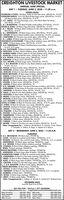 CREIGHTON LIVESTOCK MARKETANNUAL JUNE SPECIALDAY 1. TUESDAY, JUNE 2, 2020 - 11:30 a.m.FEEDER CALVESEGGERUNG & SONS: 180 Block, boldy & o few Red calves, 600-6sO lbs, w & PCVANHORN RANCH: 154 (125) Block & Red Angus colves, 450-550 lbs, w& PC(29) Block & Red calves, 550650 Ibs, W & CC. & F. THIELE: 150 Charolais Angus cross,o few Red & Block fall colves,450750 bs., w & PCJ. &J.& J. MCMANIGAL: 135 Block & baldy mosly beifers, 675-700 lbs, W & PCAHLERS & SONS: 120 Block Angus foll calves, 500-600 Ibs, W & PC1.&T. THELEN:s00700 b Wm:100 Block, Block whitefoce & a few Red whitefoce foll colves,J. & J. HENDERSON: 100 Block Angus calves, 500-700 lbs., W& PC, greenD. GEIGER: 80 Block & Black baldfoce steers, 600-625 ba, W& PC, no implantsC. HARTHORN: 80 Chorolais cross mostly steers, 650750 Ibs, W & PCJ. & J. LAIBLE: 80 Black Angus fall colves, 550-650 bs, W & PCSTUECKRATHR. SIEKE: 70 Block Angus colves, 700-725 lbs, W& PCB. &D. PINKERMAN: 70 Black & Red-Simmental cros heifers, 650-725 lbs,W& PC. G.O. greenR. & B. FUCHTMAN: 70 Block & baldy heifers, 600650 ba, W & PCB. WHITCHEY: 40 Block, Red & whiteface calves, 400-500 Ibs, W & PC, greenP. ROSBERG FARMS: 60 Block, boldy & a few Red whitefoce colvet, 550650 b, W& PCL. SCHACHT: 50 Block & Red fall calves, 550625 lbs. W & PCB. & B. WOOD: 50 Block Angus colves, 500-600 bs, W &R. BURBACH: 45 Black calves, 450550 Ibs, W& PCA. &K. NELSEN: 4S Block Angus calves, 5s0-450 lbs, W& PCS., C. & B. WALDOW: 45 Block & a few Block whitefoce mostly heifers, 650-750 lbs.W& PC. NI G.O.K. PAVLIK:R. NAPRSTEK: 40 Block calves, 650-750 Ibs, w& PCA. MUELLER: 40 Block & a few Black whitefoce calves, 600-650 lbs, W& PCO'BRIEN BROTHERS: 40 Block steers & heifers, 650-700 lbs, W & PCT. ASMUS: 36 Block & Red Angus calves, 600-675 Ibs, W& PC& DOCKHORN: 75 8Block & Blok whitefoce calves, 600700 lbs., W& PC: 45 Bock & baldy calves, 500-650 bs, W & PCA. SEEGEBARTH: 35 Black Angus cavMILLER: 35 BlockFISCHER: 34 Block oK. AUSTIN: 29 Block colves, 500-600 bs,