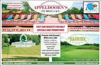 FREE GOLF! Join our E-Clubfor a complimentary.birthday round of golf!MaAPPELDOORN'SON MILLE LACSMie LacsLakeVISIT OUR WEBSITE FOR DAILYPLAY. STAY. RELAX.The Best Kept Secret On Mille Lacs320.676.8834  www.appeldoorns.comSPECIALS AND PROMOTIONSPremier Golf AroundMille Lacs LakeXusappILTiddleshxPristine conditions,fabulous greens andunbeatable value!Up North GolfGPS CartsLatest Equipment & ApparelEnjoy great food & drinksafter your round!RV & GOLF RESORTNORTHWOOD HILLS GOLFAppelimni's n Mille lassISLE, MNNORTHWOOD HILLS GOLF COURSEO Garrison, MNFIDDLESTIX GOLF COURSE Isle, MN320.682.4325 - www.golfmillelacs.comVisit our website to book online!320.676.3636 - fiddlestixrv.com FREE GOLF! Join our E-Club for a complimentary. birthday round of golf! Ma APPELDOORN'S ON MILLE LACS Mie Lacs Lake VISIT OUR WEBSITE FOR DAILY PLAY. STAY. RELAX. The Best Kept Secret On Mille Lacs 320.676.8834  www.appeldoorns.com SPECIALS AND PROMOTIONS Premier Golf Around Mille Lacs Lake XusappIL Tiddleshx Pristine conditions, fabulous greens and unbeatable value! Up North Golf GPS Carts Latest Equipment & Apparel Enjoy great food & drinks after your round! RV & GOLF RESORT NORTHWOOD HILLS GOLF Appelimni's n Mille lass ISLE, MN NORTHWOOD HILLS GOLF COURSEO Garrison, MN FIDDLESTIX GOLF COURSE Isle, MN 320.682.4325 - www.golfmillelacs.com Visit our website to book online! 320.676.3636 - fiddlestixrv.com