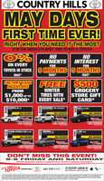 """O COUNTRY HILLS OMAY DAYSFIRST TIME EVER!RIGHT WHEN YOU NEED IT THE MOSTIT IS THE ABSOLUTE BEST TIME TO BUY A TOYOTA!0%ON EVERYNOPAYMENTSNOINTERESTFORFORTOYOTA IN STOCK 9 MONTHS 5 MONTHSOAC*OAC*OAC*FACTORY CASH FREEINCENTIVES$500WINTERTIRES WITHEVERY SALE*GROCERYSTORE GIFTCARD*FROM$1,000 UP TO$10,000*COROLLA LECOADD4RUNNER SAS UPGRADECOMPLETELY LOADRAV4 LE AWDLOADEDSO DOWNSO DOWNSO DOWNFINANCE FOR ONLYFINANCE FOR ONLYPINANCE FOR OLY148346$218PUS NO PAYMENTSFOR S MONTHSPIS NO PAYMENTSFOR O MONTHSPUS NO PAVMENTSFOR D MONTHSTACOMA DOUBLE CAB ve ewoLOADEDSIENNA LELOADED.EPASNGENC-HR XLEPREMIUMSO DOWNSO DOWNSO DOWNFINANCE FOR ONLYFINANCE FOR ONLYFINANCE FOR ONLY$258265178PUS NO PAYMENTSPIS NO PAYMENTSFOR O MONTHSPLIS NO PAYMENTSFOR D MONTHSFOR D MONTHSDON'T MISS THIS EVENT!9-6 FRIDAY AND SATURDAYPROPER MEASURES TAKEN AT COUNTRY HILLS TOYOTA TO ENSURE YOUR SAFETYIT'S TIME TOYTA20 FREEPORT LANDING NECONER F DERFOOI ALA S NCOUNTRY HILLS403.290.1111TOYOTA""""A prices include all taes and fees and are plus get ony All offers have conditons and only one oftler per customer. The month no payment offer is through TFS and Country His Toyotamanutacturer rebates and dealershp discounts and in some occasions be added to the sale price and into finance and lease contracts. All payments quoted are 84 month terms with Sodown and are only available through TS with an approved loyalty rate reduction aready appled and are OAC. See dealer for complete detals20202020202020202020 O COUNTRY HILLS O MAY DAYS FIRST TIME EVER! RIGHT WHEN YOU NEED IT THE MOST IT IS THE ABSOLUTE BEST TIME TO BUY A TOYOTA! 0% ON EVERY NO PAYMENTS NO INTEREST FOR FOR TOYOTA IN STOCK 9 MONTHS 5 MONTHS OAC* OAC* OAC* FACTORY CASH FREE INCENTIVES $500 WINTER TIRES WITH EVERY SALE* GROCERY STORE GIFT CARD* FROM $1,000 UP TO $10,000* COROLLA LE COADD 4RUNNER SAS UPGRADE COMPLETELY LOAD RAV4 LE AWD LOADED SO DOWN SO DOWN SO DOWN FINANCE FOR ONLY FINANCE FOR ONLY PINANCE FOR OLY 148 346 $218 PUS NO PAYMENTS FOR S MONTHS PIS N"""