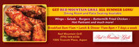 GET RED MOUNTAIN GRILL ALL SUMMER LONG!Dining Room and Patio Seating AvailableWings - Salads - Burgers - Buttermilk Fried Chicken -Hot Pastrami and much more!Breakfast 8am-11am Lunch & Dinner 11am-8pm 7 days a weekRed Mountain Grill(970) 544-63361000 Truscott Place, Aspen|Rad Mountain Grill GET RED MOUNTAIN GRILL ALL SUMMER LONG! Dining Room and Patio Seating Available Wings - Salads - Burgers - Buttermilk Fried Chicken - Hot Pastrami and much more! Breakfast 8am-11am Lunch & Dinner 11am-8pm 7 days a week Red Mountain Grill (970) 544-6336 1000 Truscott Place, Aspen |Rad Mountain Grill