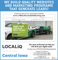 WE BUILD QUALITY WEBSITESAND MARKETING PROGRAMSTHAT GENERATE LEADS!Check out one of our most recent websiteswww.r38dustlessmobileblasting.comWERE OPENI(SI5) 230-os57R38 DUSTLESS MOBILE BLASTINGHOME ABOUT OUR SERVICESGALLERYCONTACT USBRING YOURSURFACES TO LIFEMobile Dustless Sandblasting Thar 3ILEBLASTISRenews Like MagicATE AER GREELERContact usLOCALIQOur team at Gannett can help youwith all of your digital needs.Contact your LOCALIQ Sale RepresentativeContact Us Today at1-515-230-2160 Ames office1-515-432-6694 Boone officeor email us atadvertising@amestrib.comCentral lowaGooglePartner WE BUILD QUALITY WEBSITES AND MARKETING PROGRAMS THAT GENERATE LEADS! Check out one of our most recent websites www.r38dustlessmobileblasting.com WERE OPENI (SI5) 230-os57 R38 DUSTLESS MOBILE BLASTING HOME ABOUT OUR SERVICES GALLERY CONTACT US BRING YOUR SURFACES  TO LIFE Mobile Dustless Sandblasting Thar 3ILEBLASTIS Renews Like Magic ATE AER GREELER Contact us LOCALIQ Our team at Gannett can help you with all of your digital needs. Contact your LOCALIQ Sale Representative Contact Us Today at 1-515-230-2160 Ames office 1-515-432-6694 Boone office or email us at advertising@amestrib.com Central lowa Google Partner